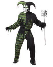 Böser Harlekin Kostüm Grün Schwarz
